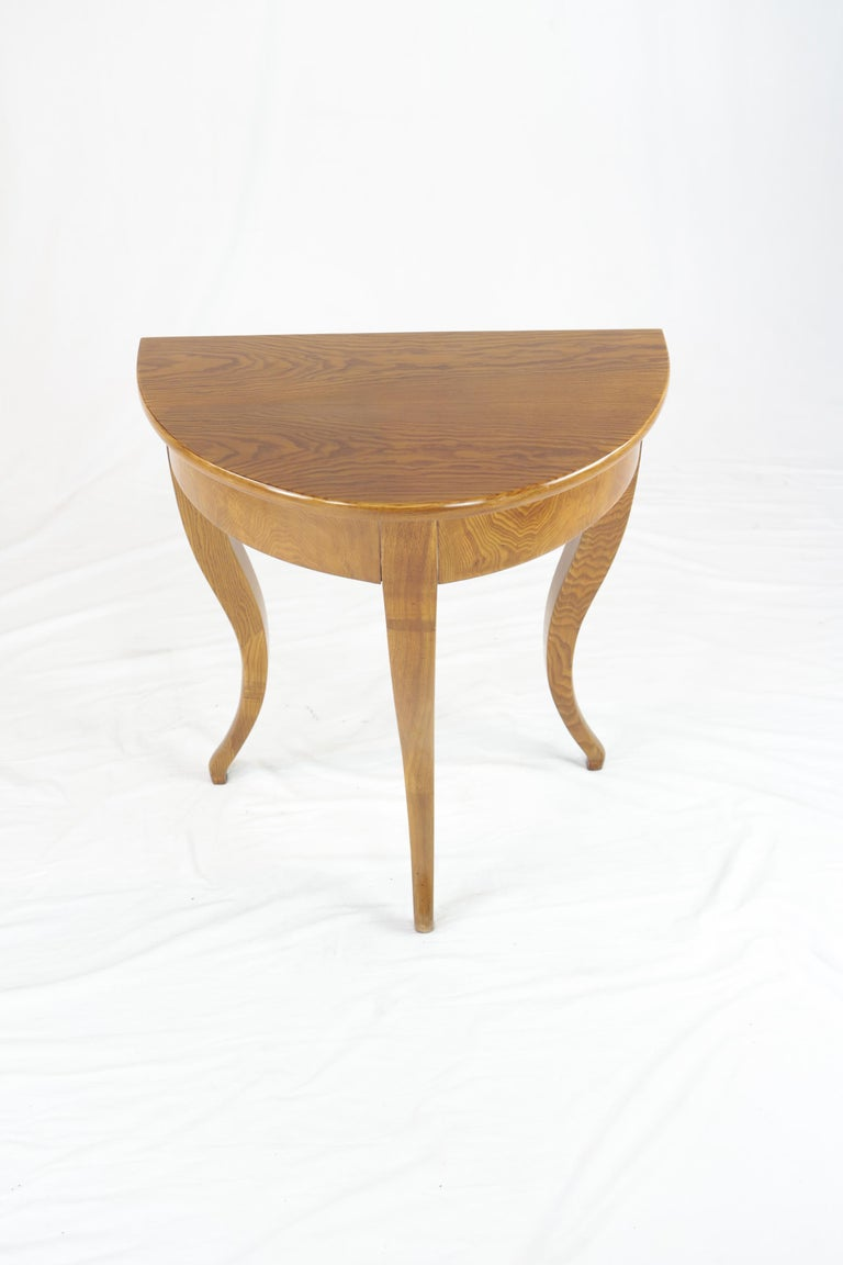 Biedermeier Period Demilune Console Table, Solid Ash, circa 1830, Shellac Polish In Good Condition For Sale In Muenster, NRW