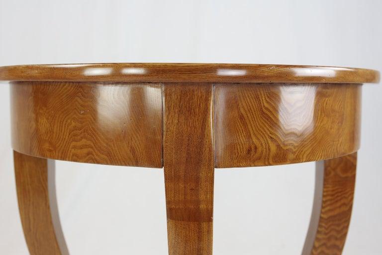 Mid-19th Century Biedermeier Period Demilune Console Table, Solid Ash, circa 1830, Shellac Polish For Sale