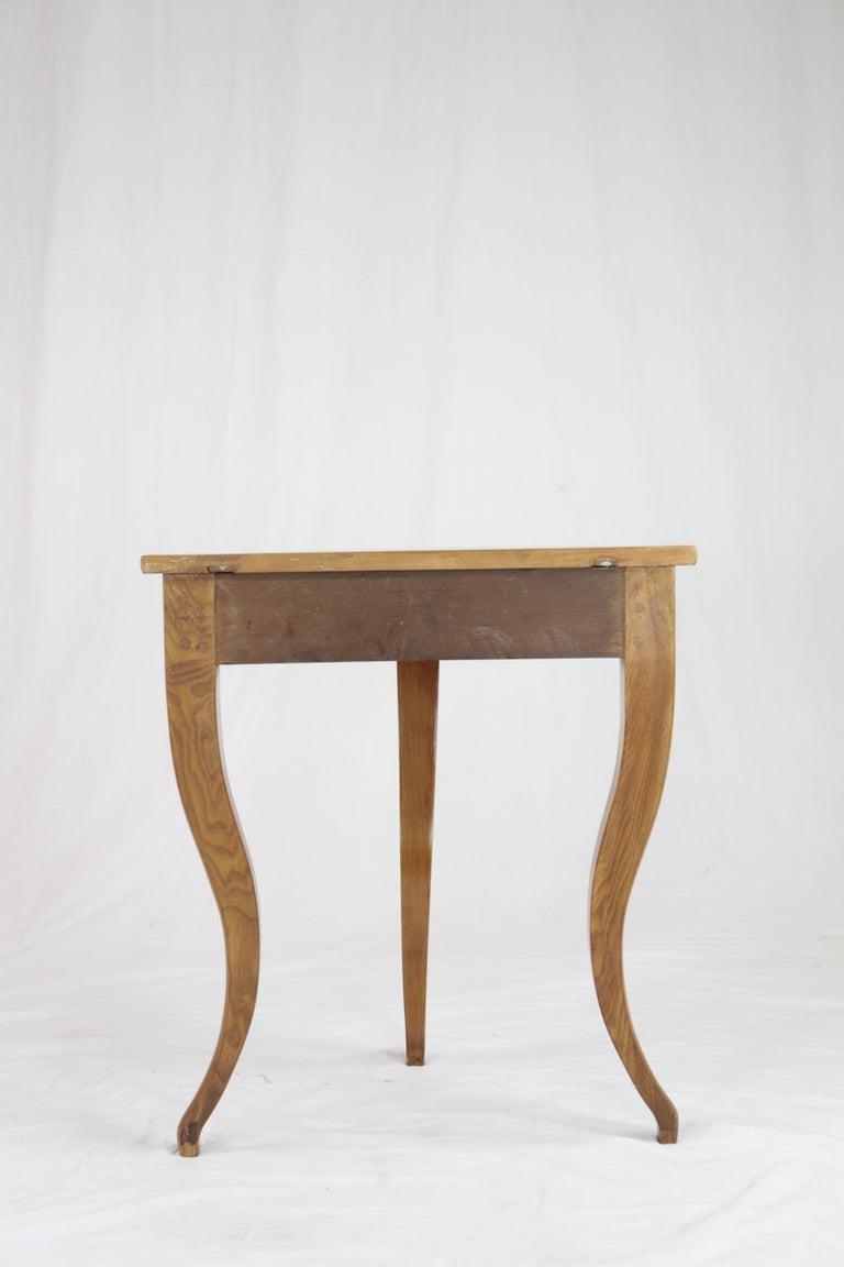 Biedermeier Period Demilune Console Table, Solid Ash, circa 1830, Shellac Polish For Sale 1