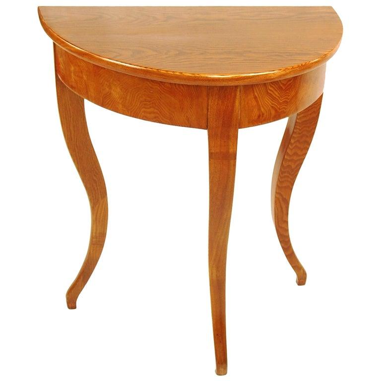 Biedermeier Period Demilune Console Table, Solid Ash, circa 1830, Shellac Polish For Sale
