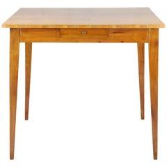 Biedermeier Period Writing Side Table, Cherry Veneer, circa 1820-1830, 1-Drawer