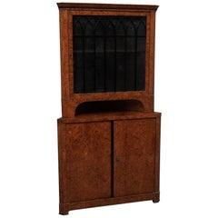 Biedermeier Poplar Briar Wood Austrian Corner Cabinet, 1820