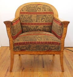 Biedermeier Revival Armchairs with Elephant Upholstery in Quilted Golden Birch