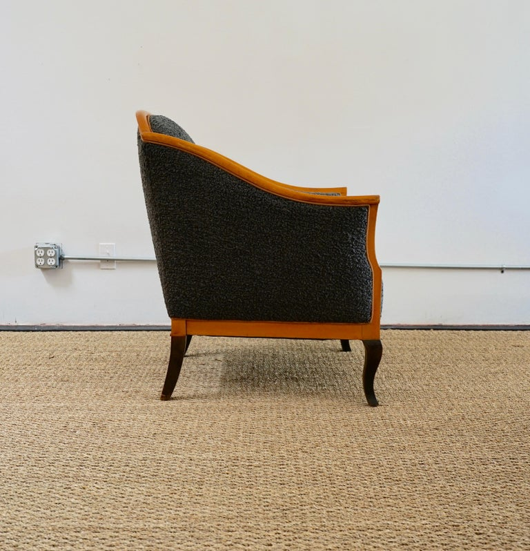 Unknown Biedermeier Revival Limited Edition Faux Shearling Club Chairs For Sale