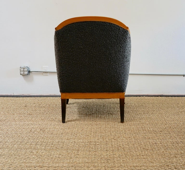 Biedermeier Revival Limited Edition Faux Shearling Club Chairs In Good Condition For Sale In Los Angeles, CA