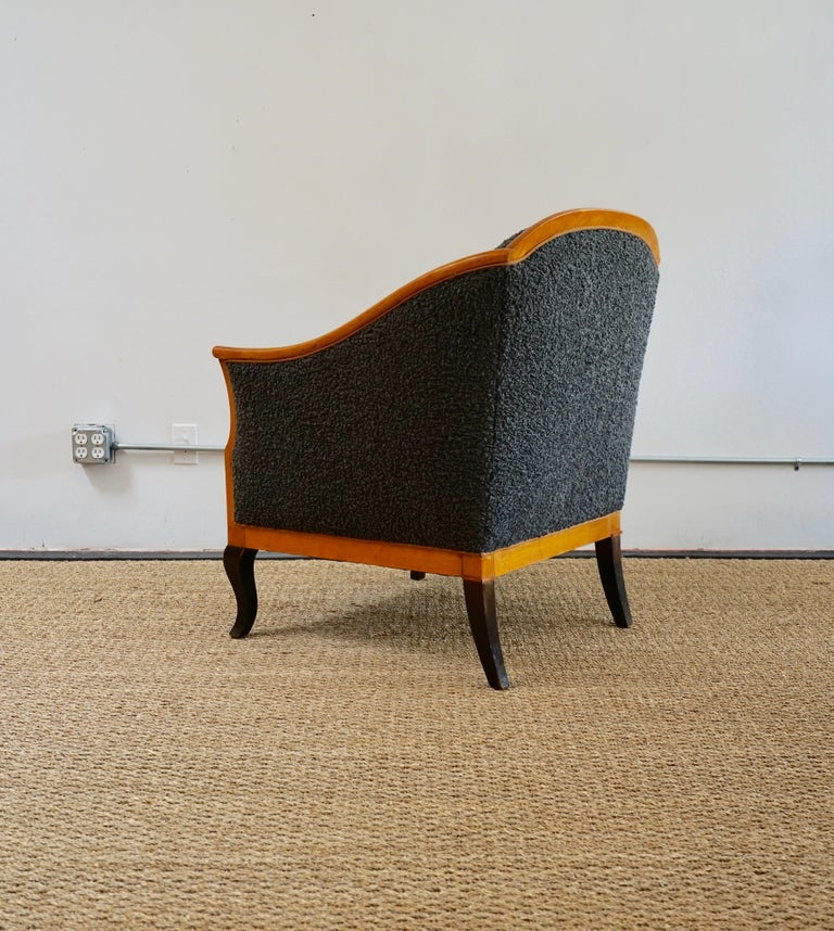 Late 20th Century Biedermeier Revival Limited Edition Faux Shearling Club Chairs For Sale