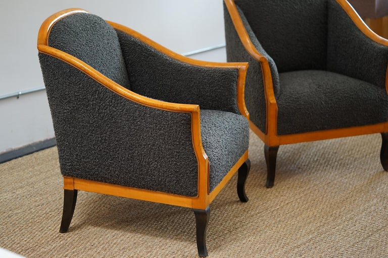 Upholstery Biedermeier Revival Limited Edition Faux Shearling Club Chairs For Sale