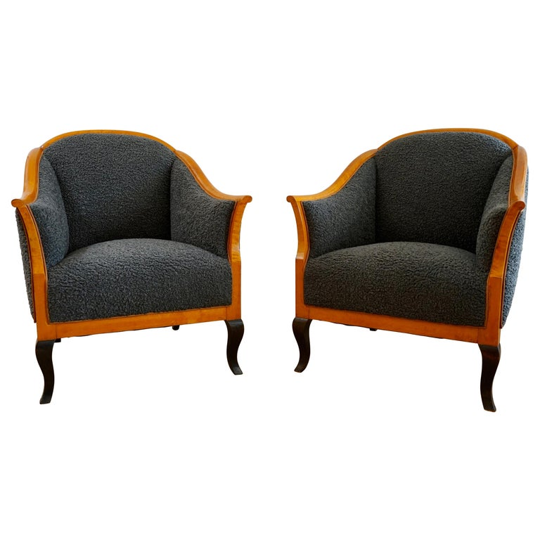 Biedermeier Revival Limited Edition Faux Shearling Club Chairs For Sale