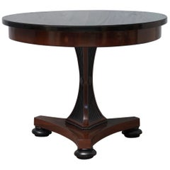 Biedermeier Round Mahogany and Black Glass Center Table, 1830