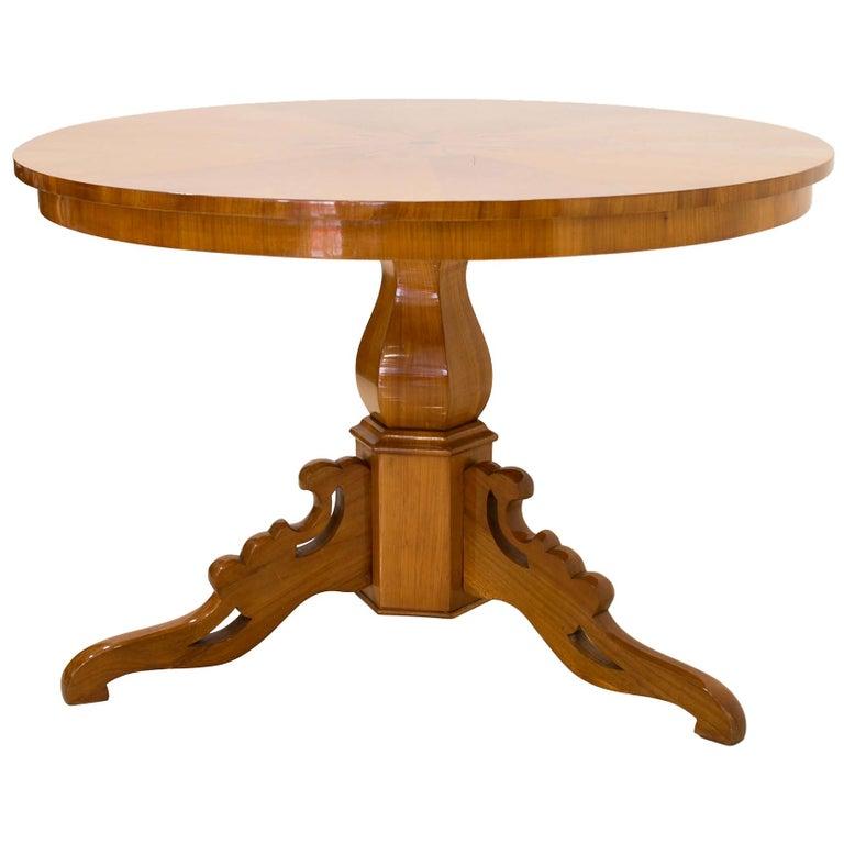 Biedermeier Round Table in Cherrywood Veneer, Germany, 19th Century