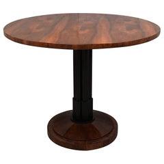 Biedermeier Round Walnut Wood Austrian Folding Table, 1920