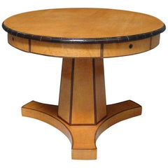 Biedermeier Satin Birch Ebonized Center Table with Hexagonal Base