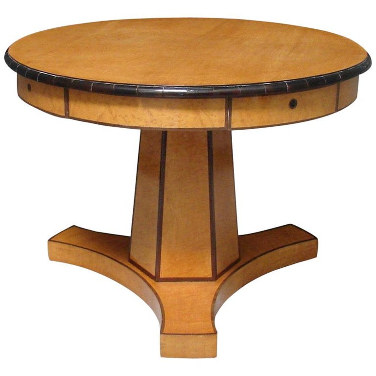 Biedermeier Satin Birch Ebonized Center Table with Hexagonal Base