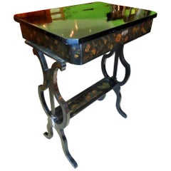 Biedermeier Sewing Table, circa 1830 with Floral Paintings