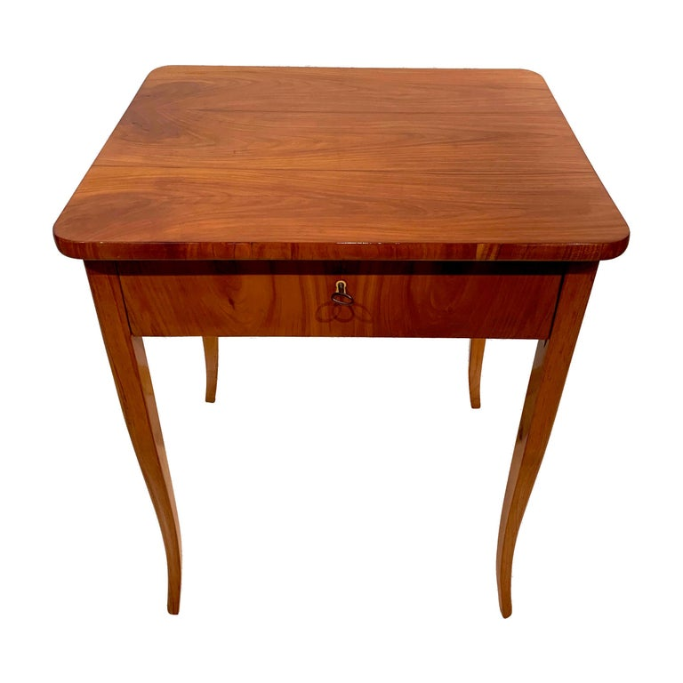 Biedermeier Sewing Table, Cherry Veneer, Austria, circa 1825-1830 For Sale