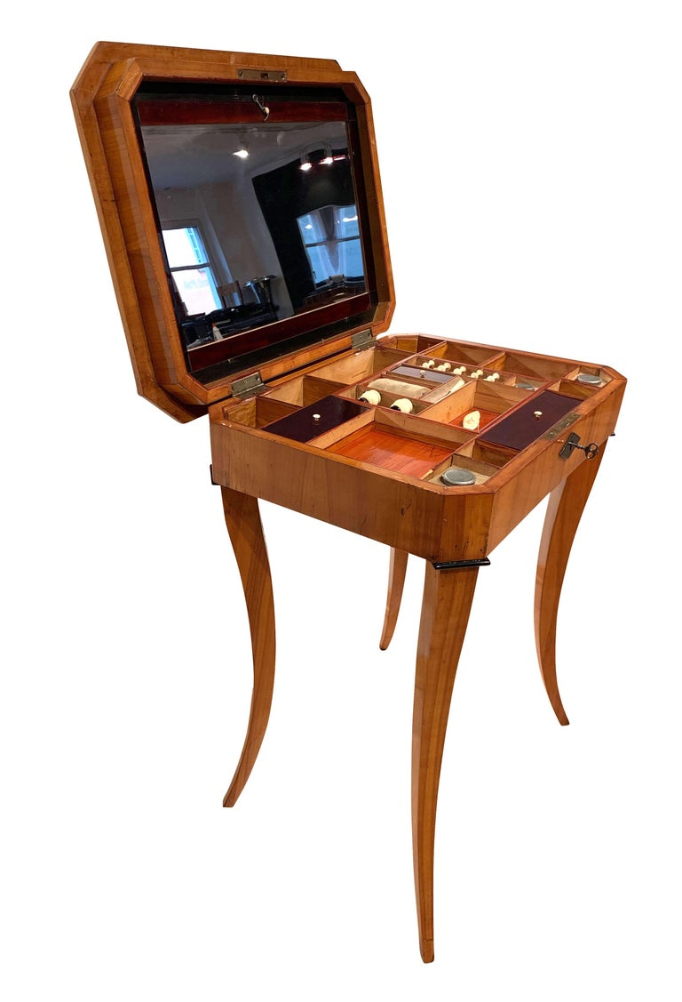 Inlay Biedermeier Sewing Table, Cherry Veneer, Interior, South Germany, circa 1825 For Sale