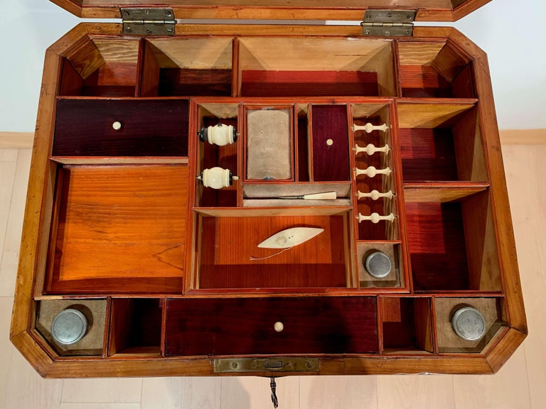 Early 19th Century Biedermeier Sewing Table, Cherry Veneer, Interior, South Germany, circa 1825 For Sale