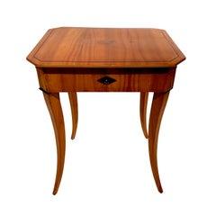 Biedermeier Sewing Table with Interior, Cherry Veneer, South Germany, circa 1825