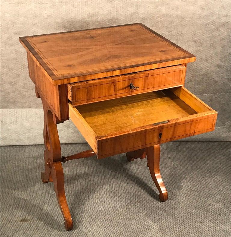 Veneer Biedermeier Sewing Table, South German 1820, Cherrywood For Sale