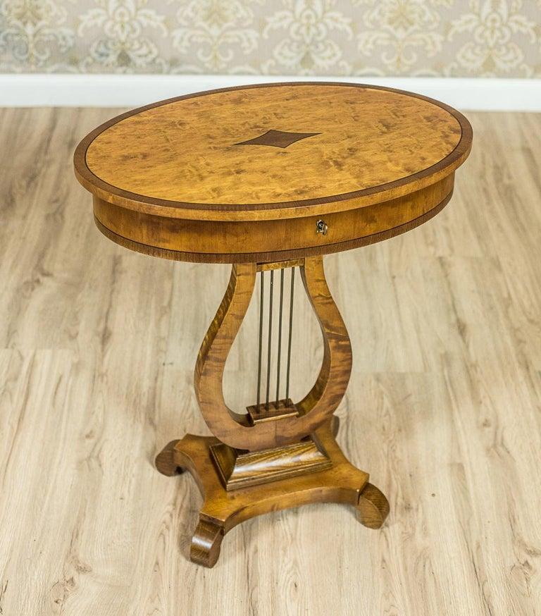 European Biedermeier Sewing Table Veneered with Birch For Sale
