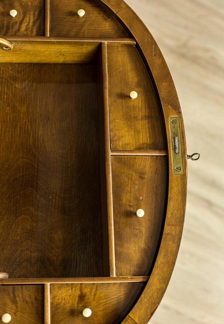 Biedermeier Sewing Table Veneered with Birch For Sale 3