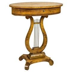 Biedermeier Sewing Table Veneered with Birch