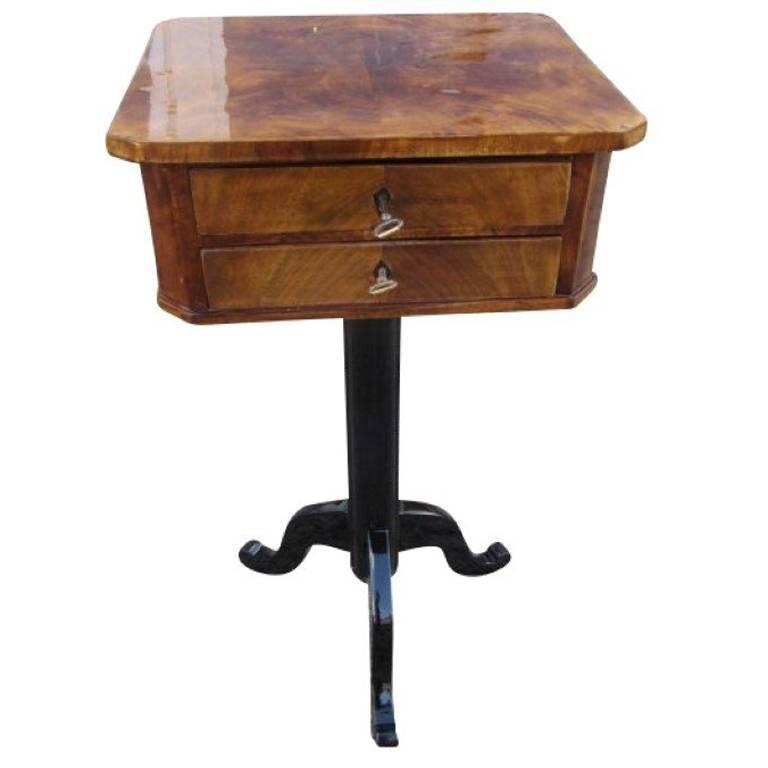 Biedermeier Sewing Table Veneered With Walnut Wood For Sale