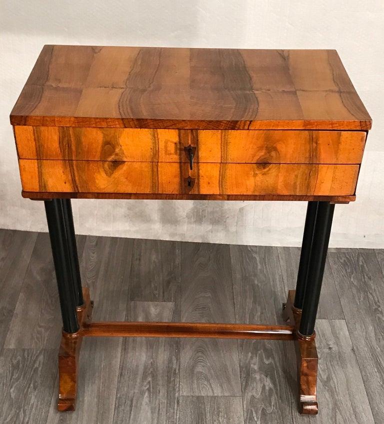 Veneer Biedermeier Side- or Sewing Table, South German, 1815 For Sale