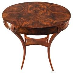 Biedermeier Side Table, South Germany 1820, Walnut Veneer