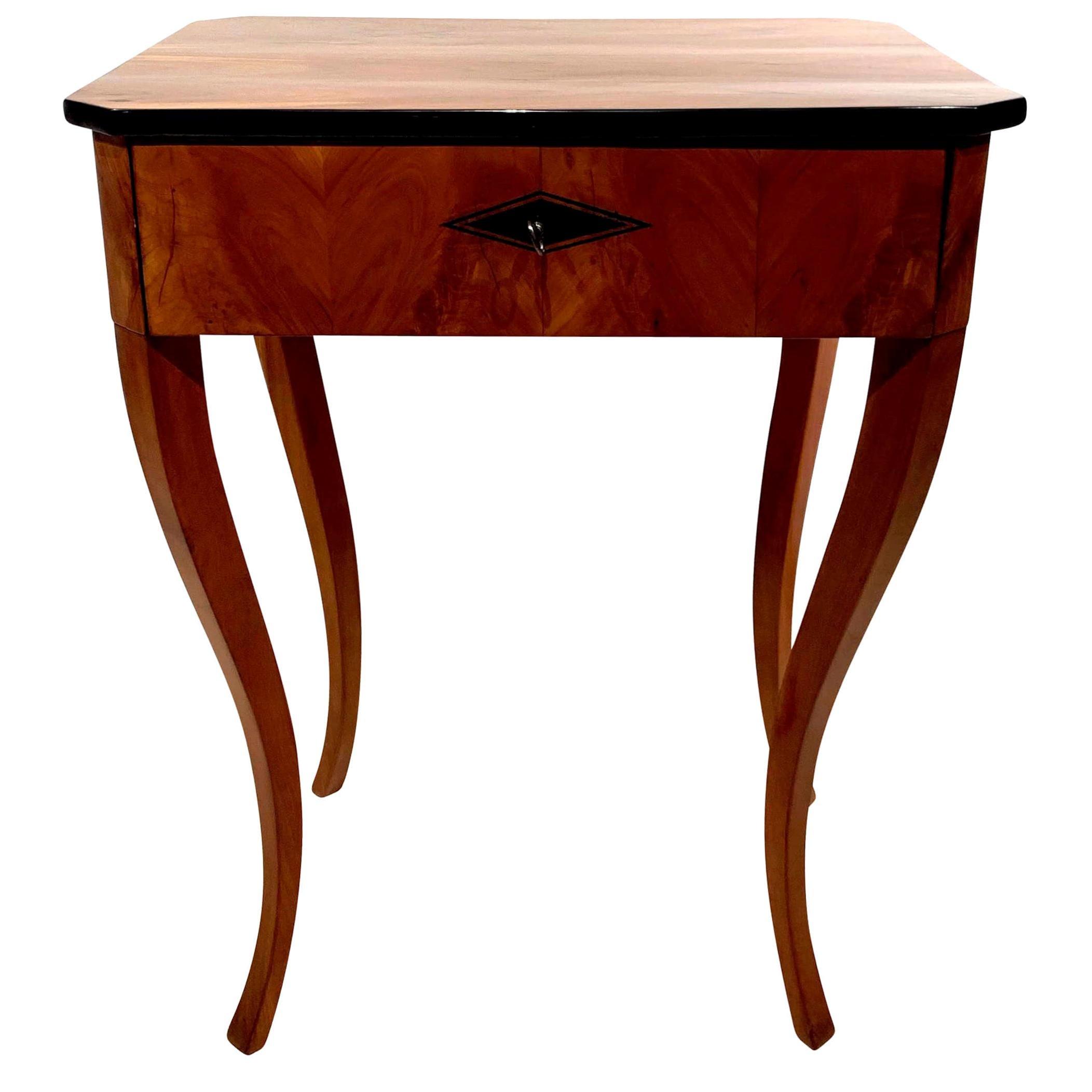 Biedermeier Side Table with Drawer, Cherry Veneer, South Germany, circa 1830