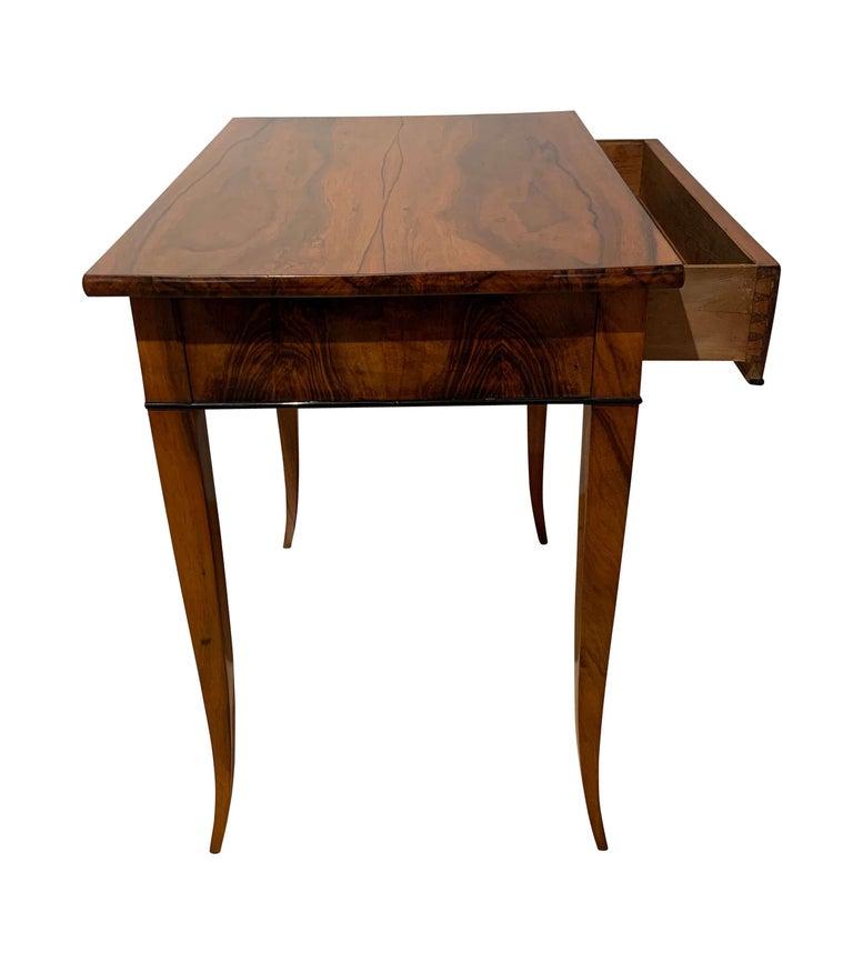 Ebonized Biedermeier Side Table with Drawer, Walnut Veneer, South Germany, circa 1820 For Sale