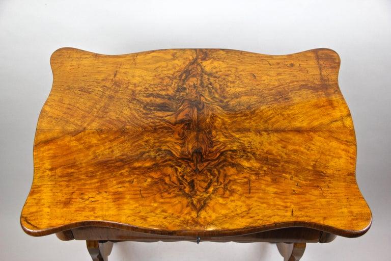 Veneer Biedermeier Side Table with One-Drawer Nut Wood, Austria, circa 1850
