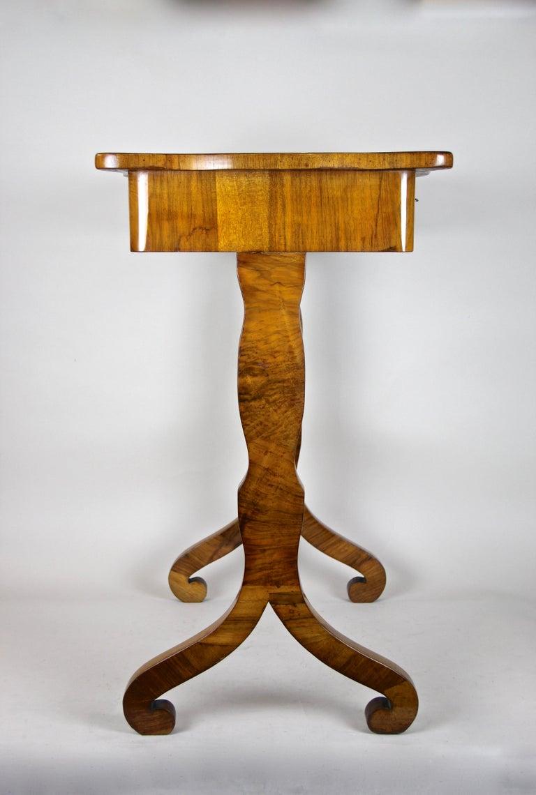 Brass Biedermeier Side Table with One-Drawer Nut Wood, Austria, circa 1850