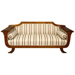 Biedermeier Sofa Settee Couch 3-4 Seat Carved Arms Art Deco Swedish, Early 1900s
