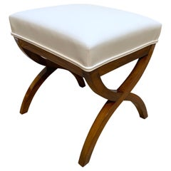 Biedermeier Stool, Solid Walnut, White Faux leather, South Germany circa 1840