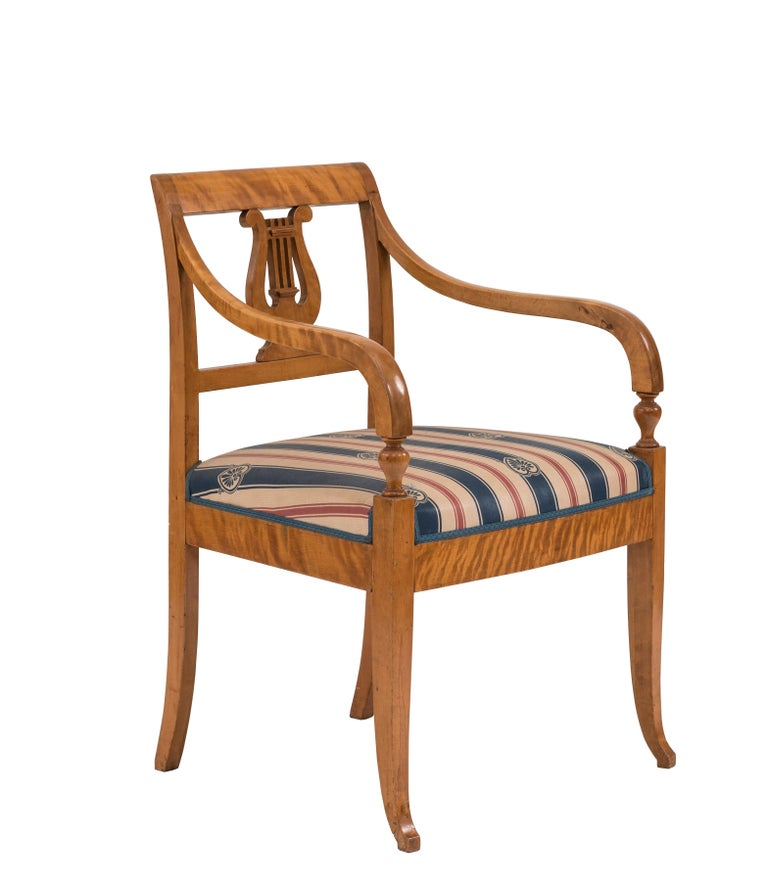 Swedish Biedermeier Style Lyre Carved Back Armchair  In Good Condition For Sale In New York, NY