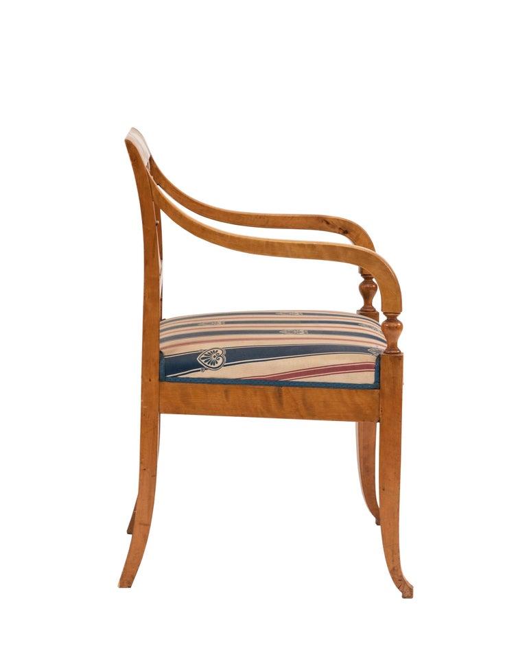 19th Century Swedish Biedermeier Style Lyre Carved Back Armchair  For Sale
