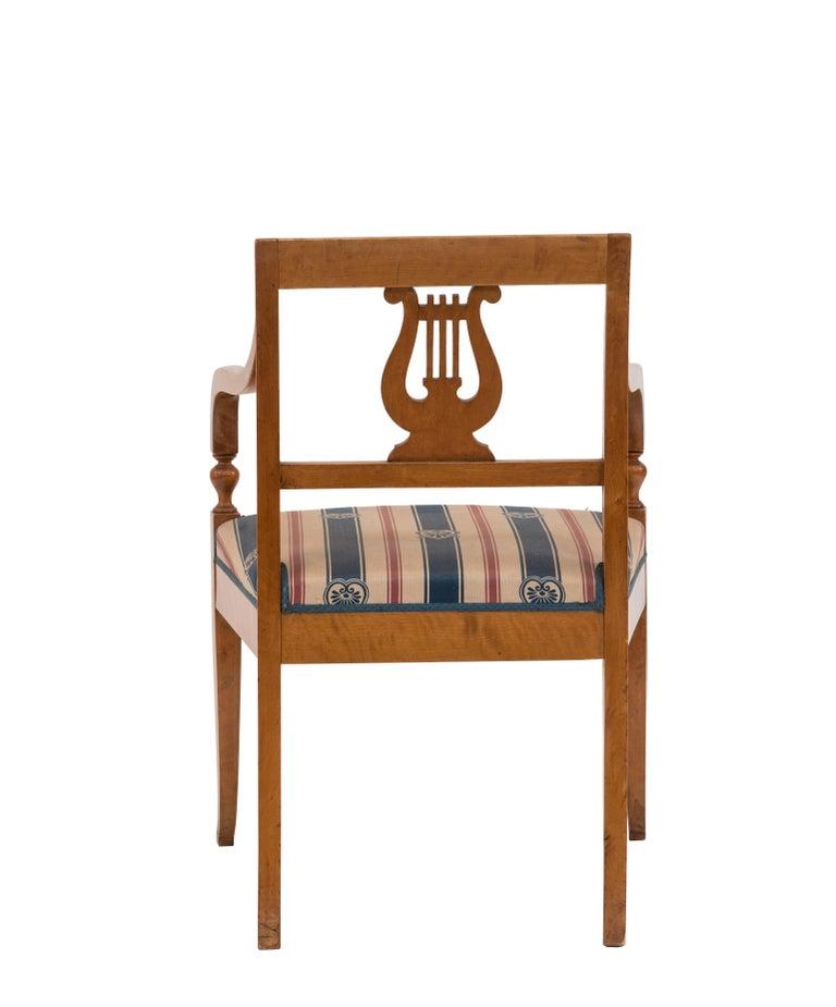 Birch Swedish Biedermeier Style Lyre Carved Back Armchair  For Sale