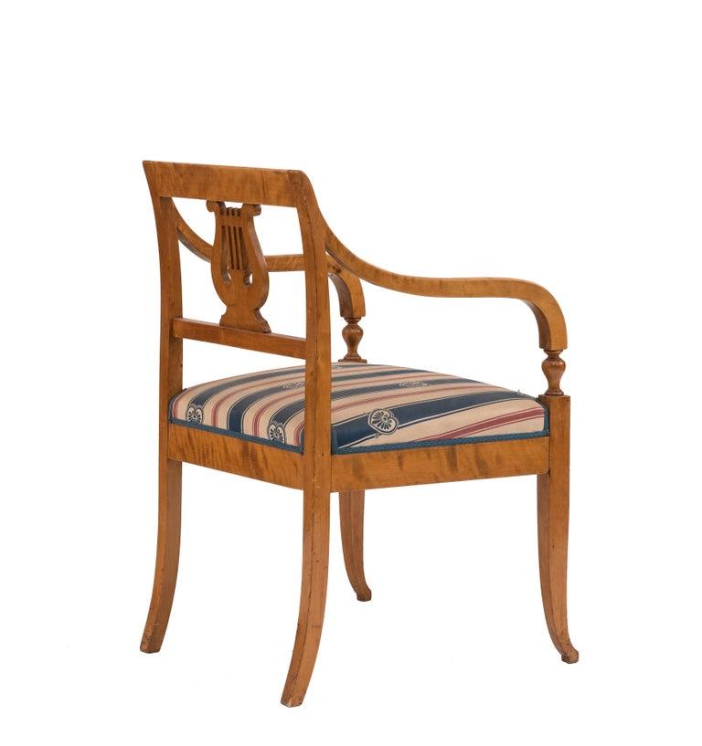 Swedish Biedermeier Style Lyre Carved Back Armchair  For Sale 1