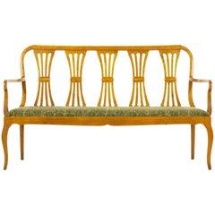 Biedermeier Style Antique Maple Hallway Sofa Bench, 20th Century