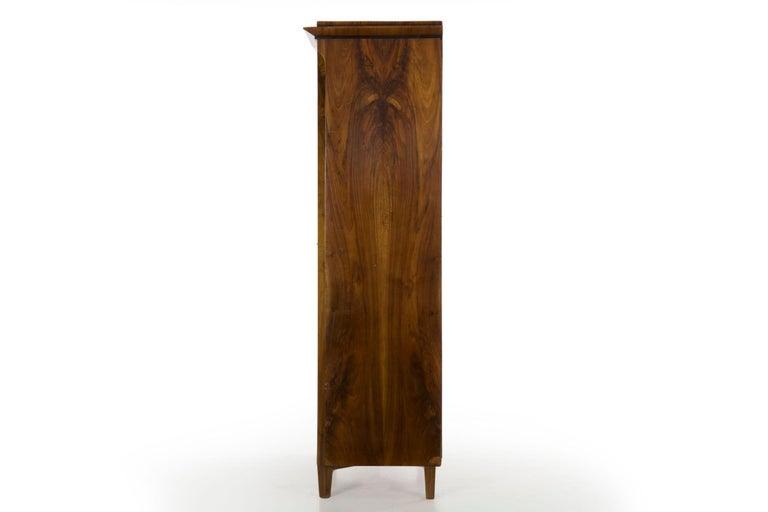Biedermeier Style Antique Walnut Display Bookcase Cabinet Vitrine For Sale 6