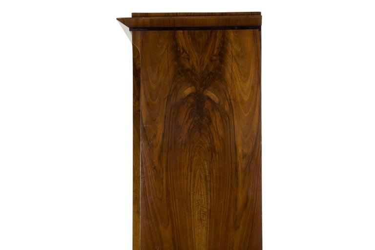 Biedermeier Style Antique Walnut Display Bookcase Cabinet Vitrine For Sale 7