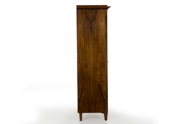 Biedermeier Style Antique Walnut Display Bookcase Cabinet Vitrine For Sale 9