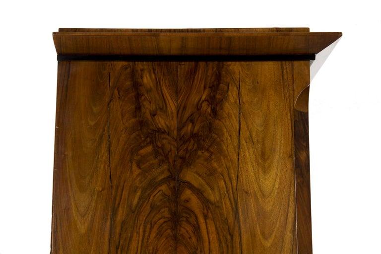 Biedermeier Style Antique Walnut Display Bookcase Cabinet Vitrine For Sale 12