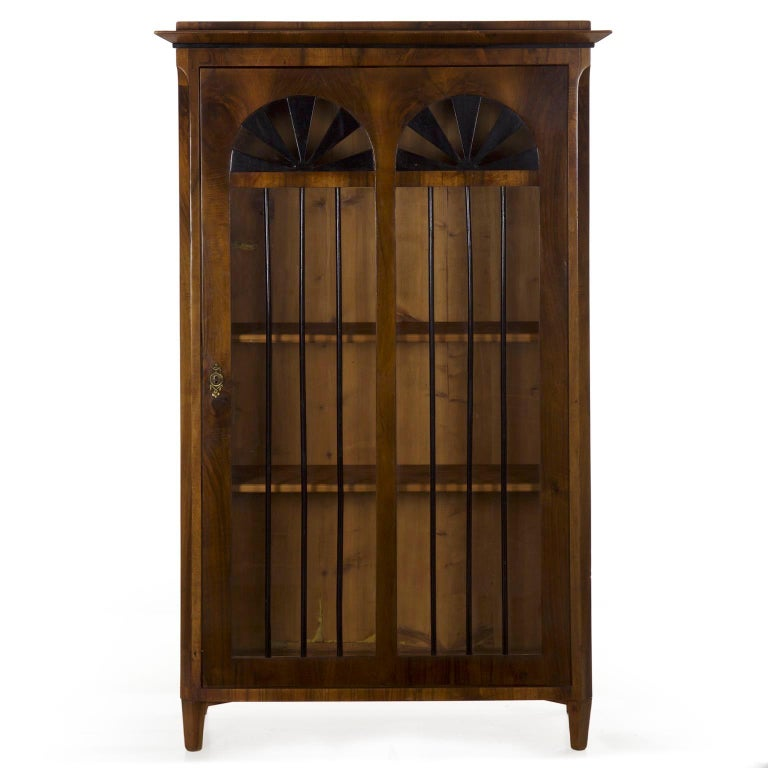Biedermeier Style Antique Walnut Display Bookcase Cabinet Vitrine 2