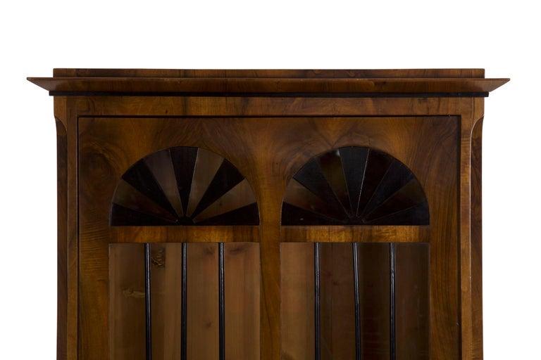 European Biedermeier Style Antique Walnut Display Bookcase Cabinet Vitrine For Sale