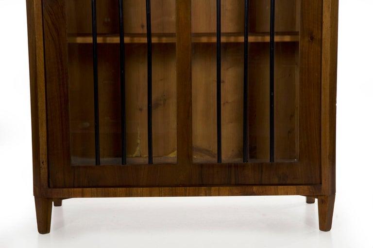 19th Century Biedermeier Style Antique Walnut Display Bookcase Cabinet Vitrine For Sale