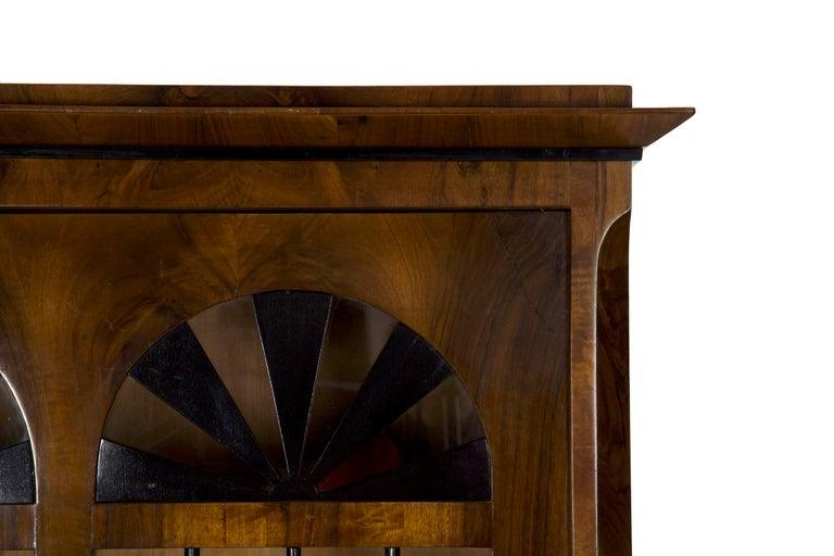 Glass Biedermeier Style Antique Walnut Display Bookcase Cabinet Vitrine For Sale