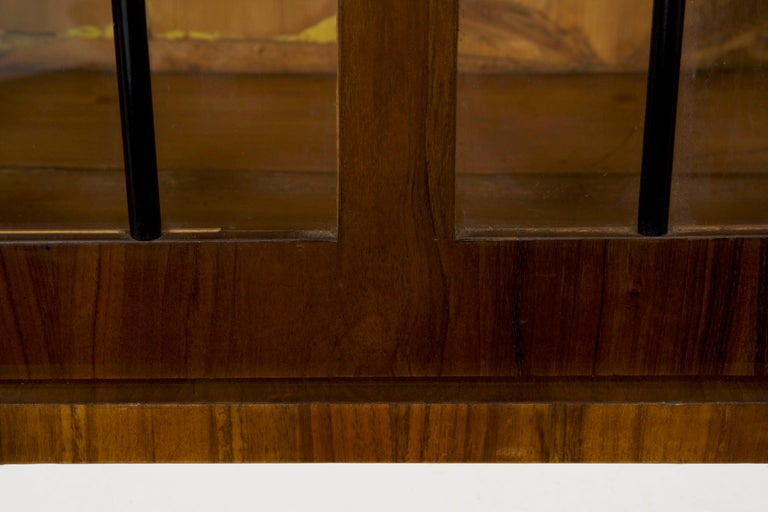 Biedermeier Style Antique Walnut Display Bookcase Cabinet Vitrine For Sale 2