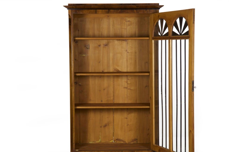 Biedermeier Style Antique Walnut Display Bookcase Cabinet Vitrine 9
